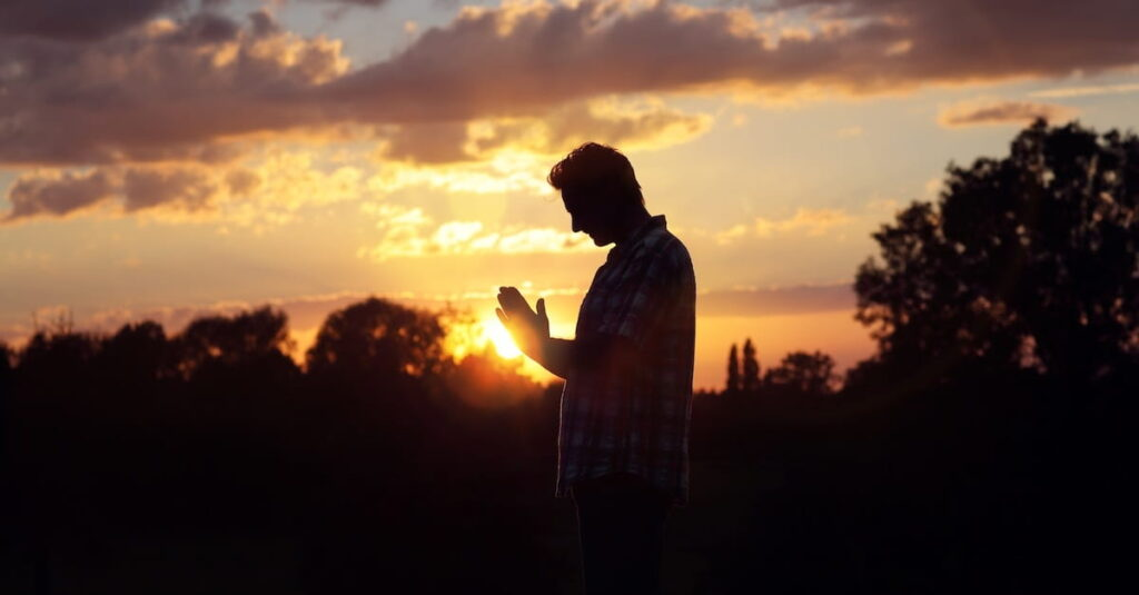 Man Praying and Mediating Upon The Lord